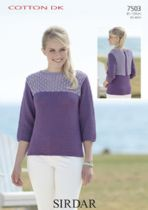 Sirdar Cotton DK Knitting Pattern - 7503 Sweater